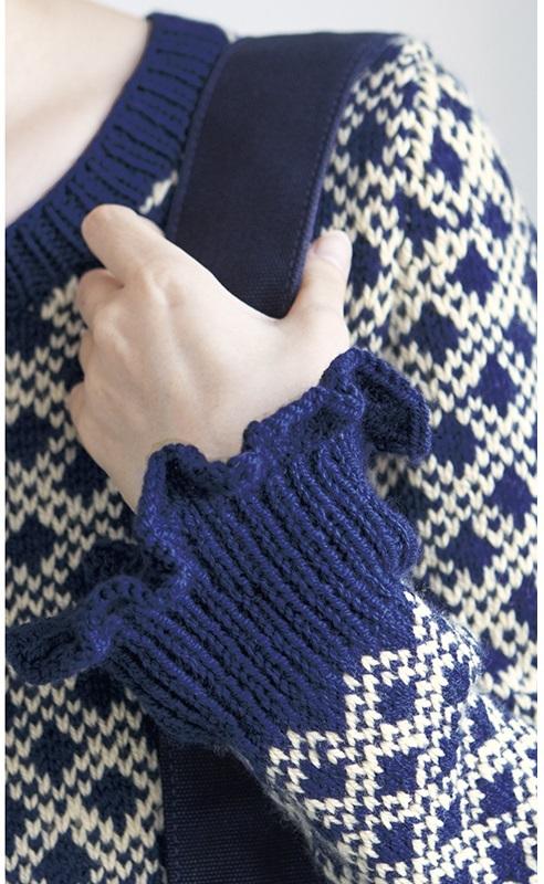 棒針編み袖口フリル毛糸ピエロファインメリノ