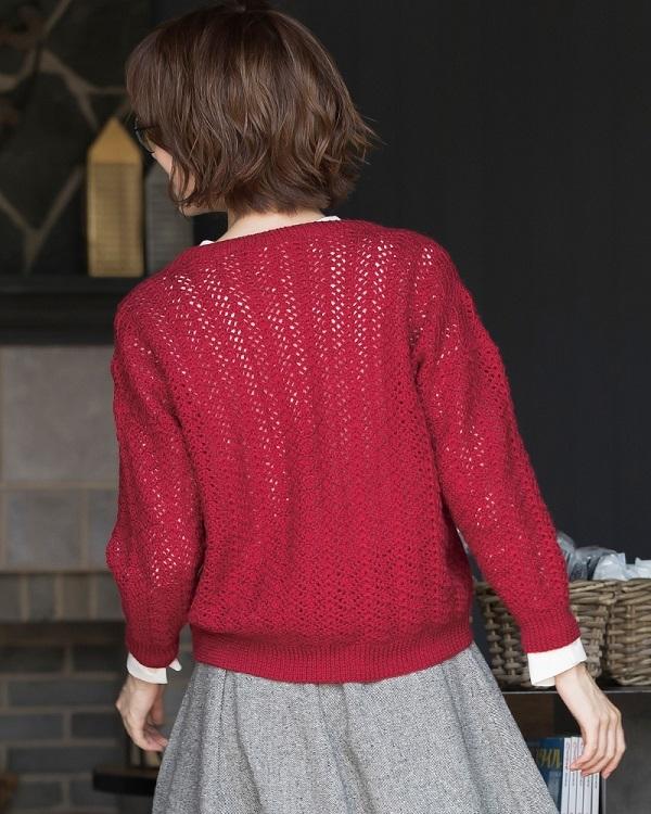 かぎ針編みカーディガン純毛中細七分袖