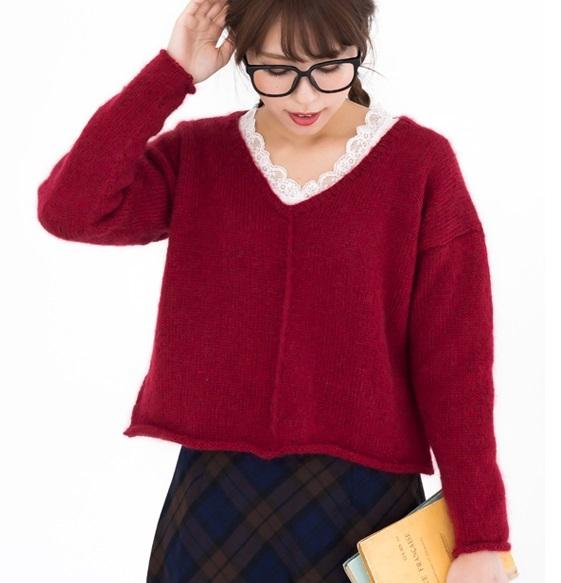 棒針編み無料編み図フロントラインセーター
