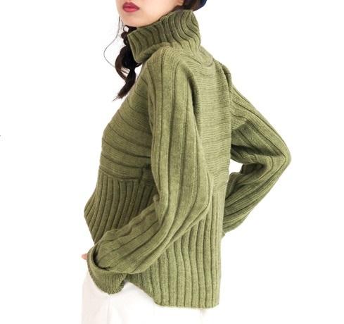 棒針編み無料編み図ハイネックセーター