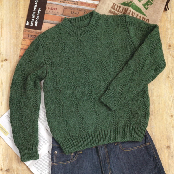 メンズクラブマスター棒針編み無料編み図地模様セーター