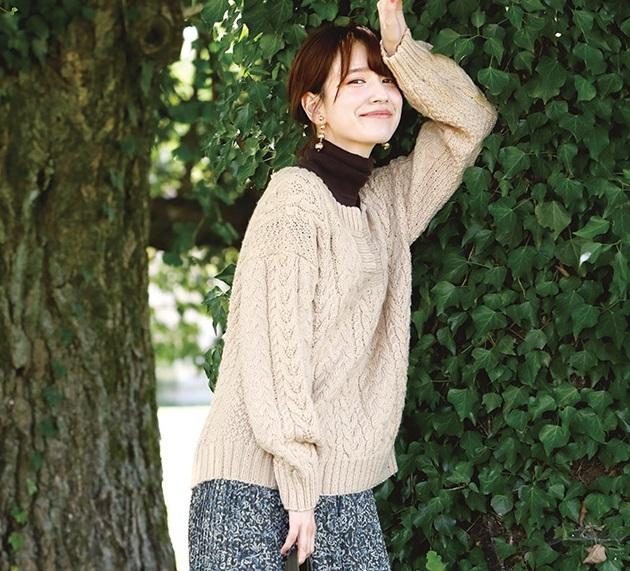 棒針編み無料編み図アラン模様のセーター