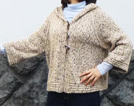 棒針編み物キット編み図付きフード付きジャケット