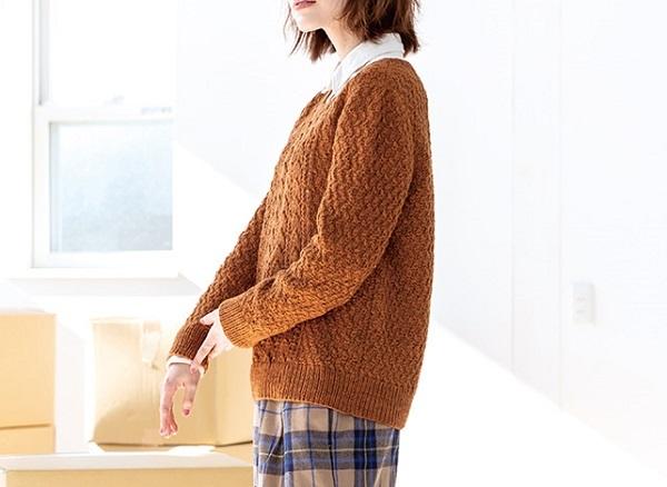棒針編み無料編み図透かし編みのセーターピエロブルーノ