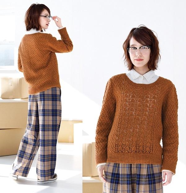 棒針編み手編み透かし模様のセーター