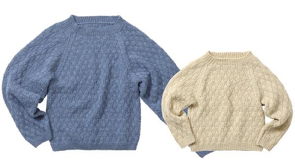 棒針編み無料編み図パパとキッズおそろいドルマン風セーター