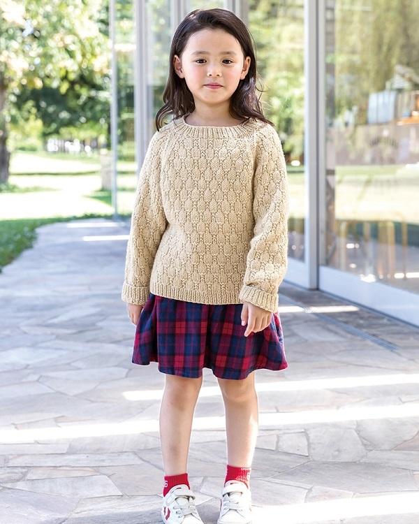 棒針編みキッズ無料編み図セーターおそろいドルマン風セーター3