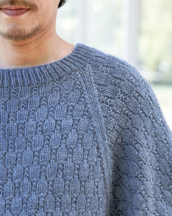 棒針編み無料編み図メンズセーターおそろいドルマン風セーター2