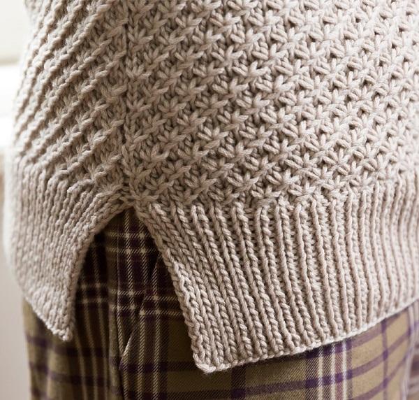 棒針編み手編みセータースリット部分