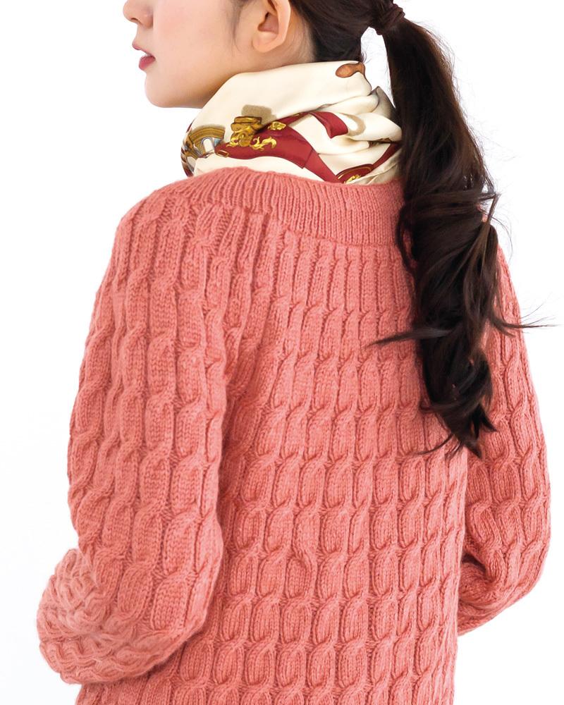 棒針編みアランセーター無料編み図すむーすシルクウールアラン模様のセーター後ろ