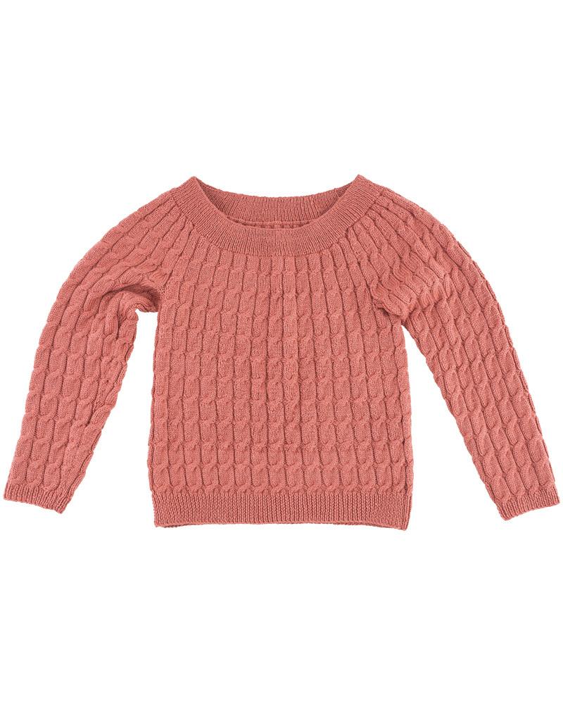 無料編み図棒針編みシルクウールアラン模様のセーター平置き