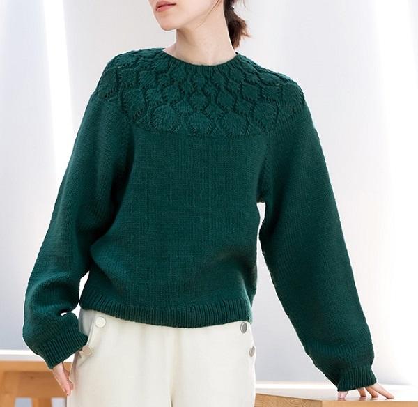 棒針編み無料編み図セーター毛糸ピエロソフトメリノヨークセーター