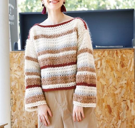無料編み図レシピ毛糸ピエロソフトメリノかぎ針編みのドロップセーター