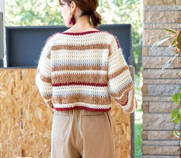 無料編み図毛糸ピエロソフトメリノかぎ針編みのドロップセーター2