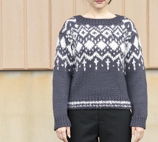 棒針編み無料編み図編み込み模様毛糸ザッカアトリエウールふわりアーガイルセーター