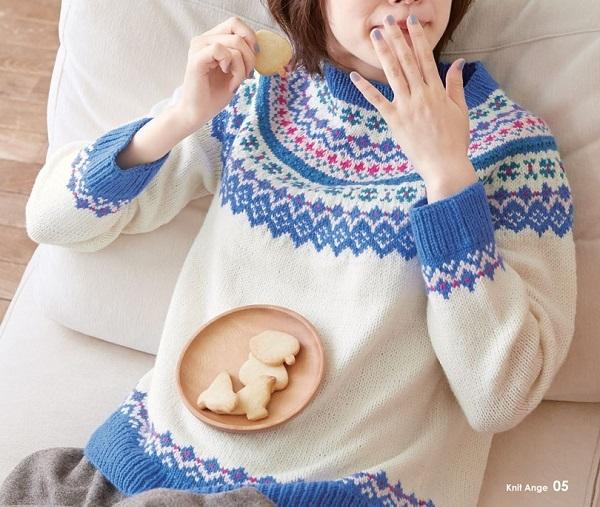 棒針編み無料編み図毛糸ピエロファインメリノ編み込みセーター