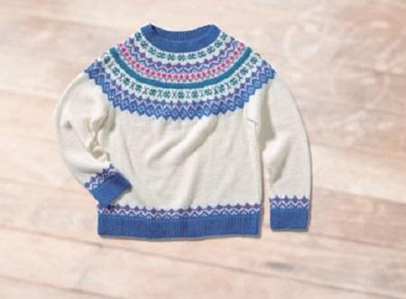 棒針編み込み毛糸ピエロファインメリノ編み込みセーター2