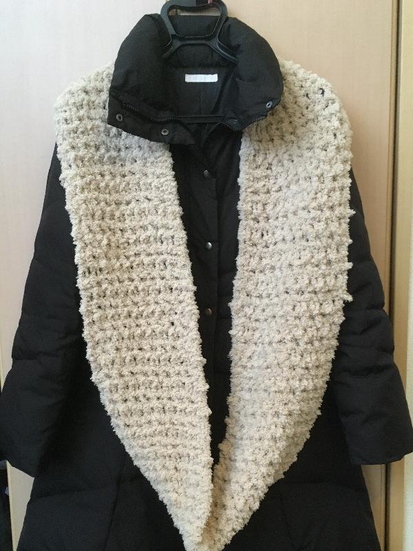 かぎ針編みもふもふ毛糸でスヌード一重