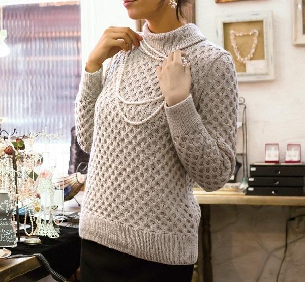 棒針編み無料編み図毛糸ピエロプララナバルファ4plyハニカムセーター2