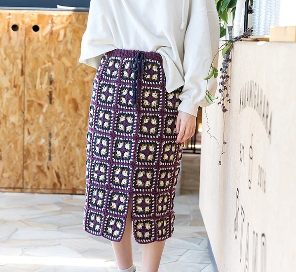 無料編み図スカート毛糸ピエロミーテモチーフ編みスカート