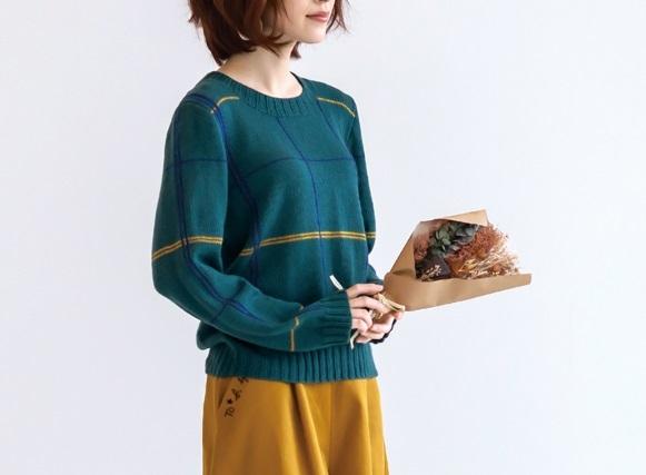 棒針編み無料編み図毛糸ピエロアーバンウインドウペンセーター