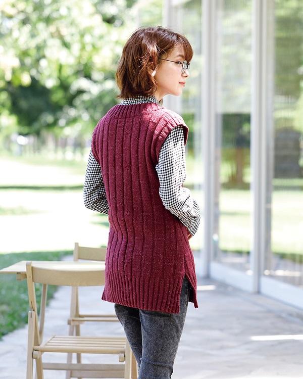 棒針編み無料編み図毛糸ピエロエレナシンプルロングベスト