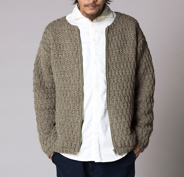 無料編み図棒針編みma-1風メンズブルゾン楽天毛糸ピエロフォンテーヌ