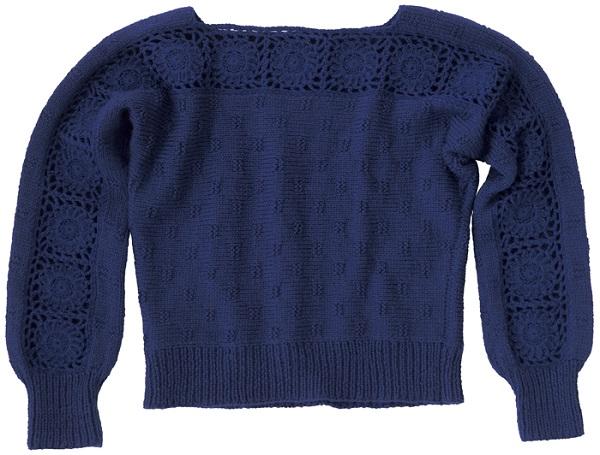 手編みエレガントなセーター無料編み図平置き