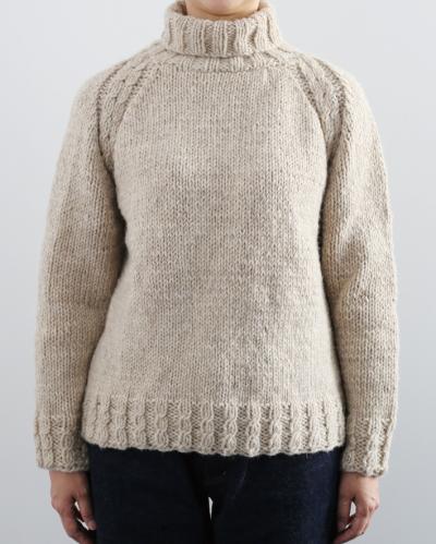 棒針編み無料編み図ダルマウールロービングオフタートルネックセーター