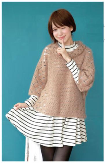 かぎ針編みオフタートルセーター大人カジュアル手編み毛糸