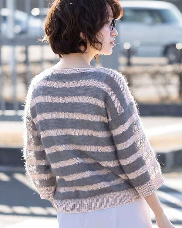 棒針編み手編み毛糸ピエロ無料編み図オーガビッツワンヘンゼル七分袖ボーダーセーター2