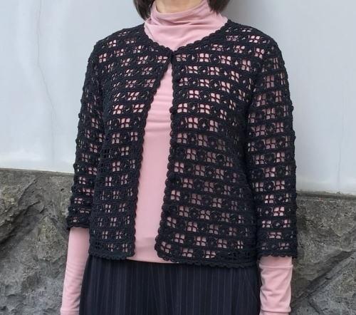 かぎ針編み編み図つきキット毛糸カチューシャ七分袖カーディガンとショール