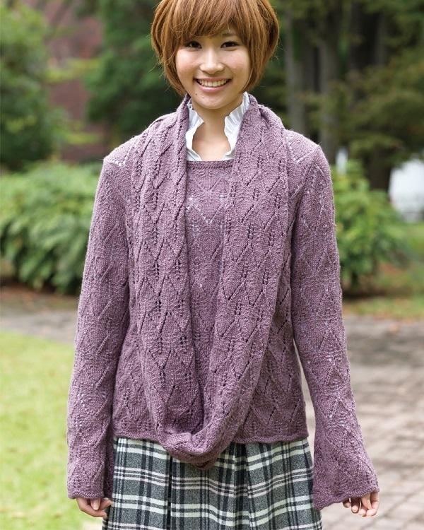 棒針編み無料編み図セーターとスヌード