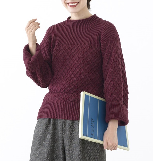 棒針編み無料編み図プルワッフル模様のセーター