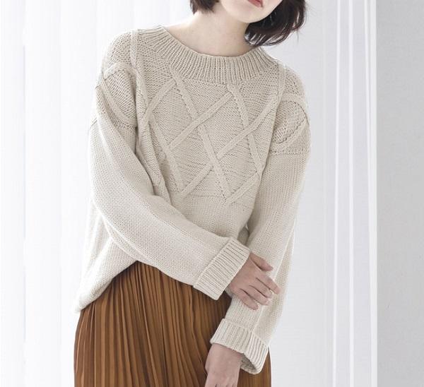 棒針編み無料編み図交差模様のセーター