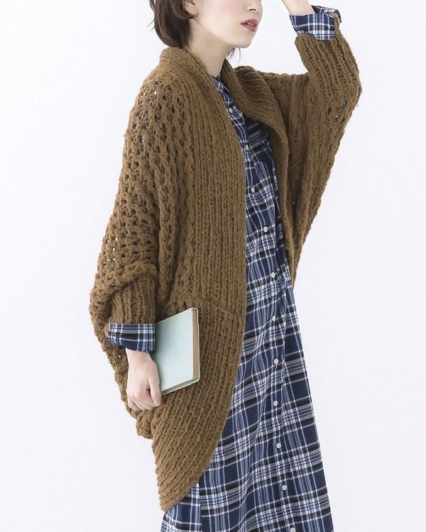 棒針編み無料編み図ロングカーディガン毛糸ピエロ