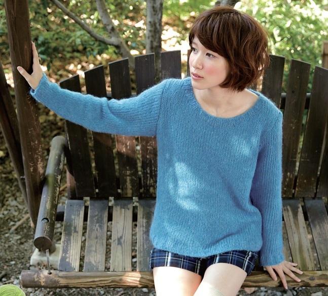 棒針編み無料編み図ボートネックセーター