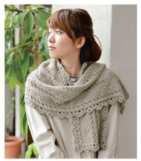 棒針編み春手編みショール無料編み図毛糸ピエロ