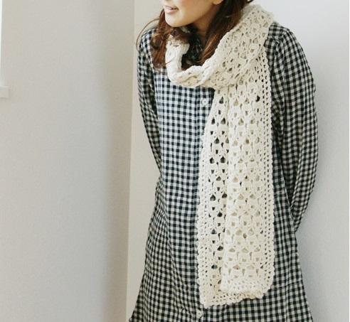 かぎ針編みショール無料編み図毛糸アルパカ