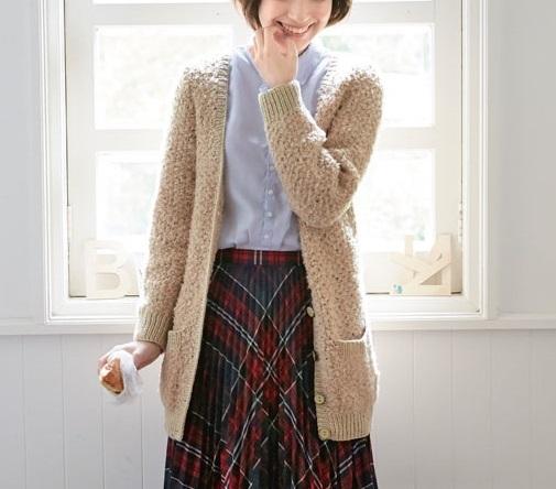 無料編み図棒針編みカーディガンうさぎみたいなふわふわもこもこ