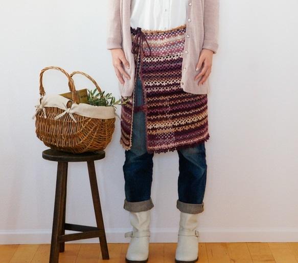 スパイシーブランケット風スカートかぎ針編み無料編み図ケープにもなる