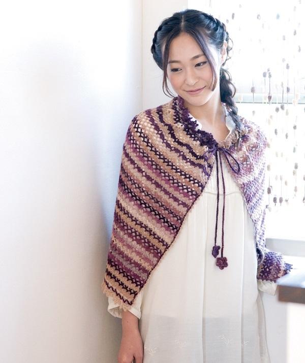 かぎ針編み無料編み図ケープにもなるスカート