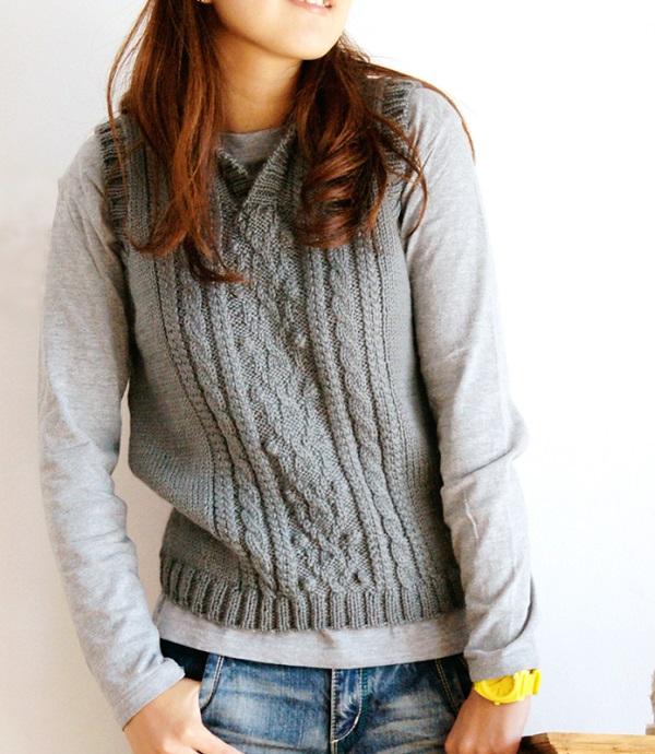 無料編み図棒針編み衿付きベスト