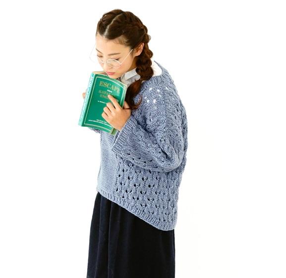 無料編み図zakkaふわふわベーグルドロップショルダーセーター
