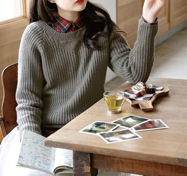 棒針編みプル無料編み図セーターレディース