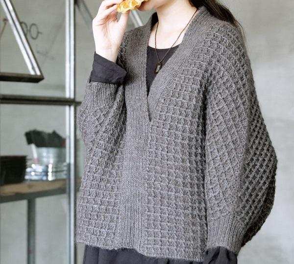 棒針編みセーター無料編み図ワッフル模様毛糸ピエロ楽天