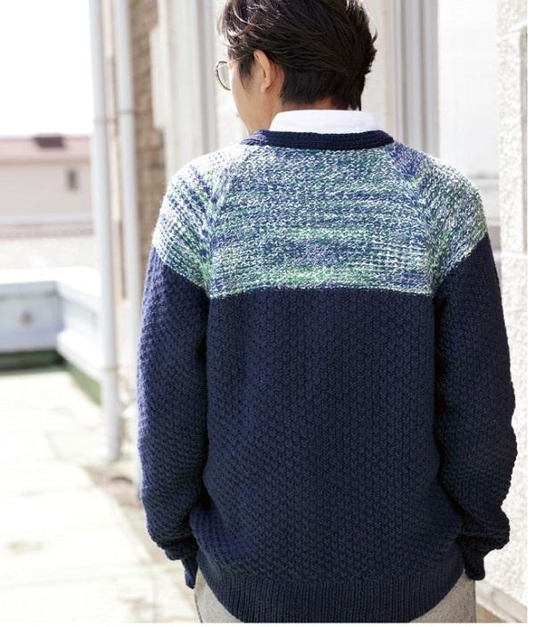 棒針編み無料編み図メンズスウィッチカーディガン