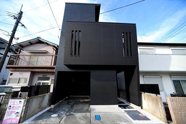 注文住宅 モダン住宅 滋賀県 大津市 膳所 一級建築士事務所 狭小住宅 デザイナーズ住宅 かっこいい家 黒い外壁の家 スリット壁