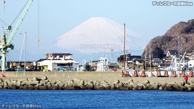 日曜日の朝の館山の海岸からは、こんな大きな富士山がきれいに見えました