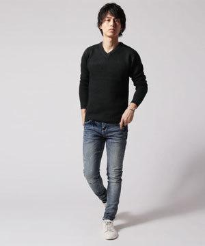 秋メンズファッションコーディネート ニットセーター 大人カジュアル20195